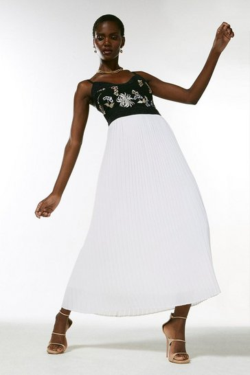 Mono Embroidered And Beaded Pleat Midi Dress