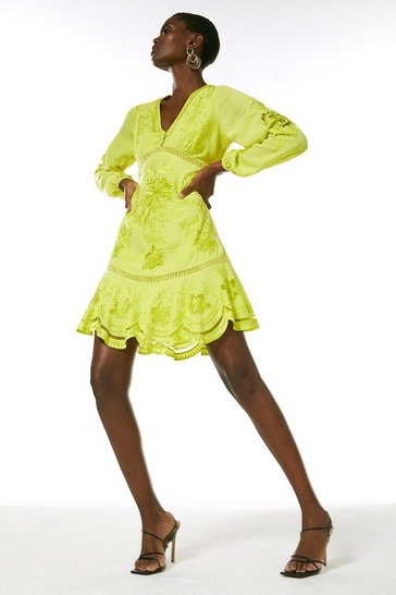 Soft lime Embroidered Balloon Sleeve Dress