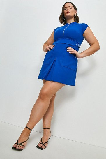 Cobalt Curve Double Buckle A-line Dress