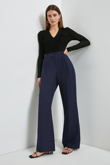 Navy Linen Blend Wide Leg Trouser