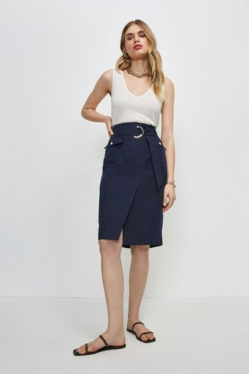 Navy Linen Blend Stitch Detail Wrap Pencil Skirt