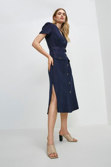 Navy Linen Blend Multi Stitch Belted Midi Dress