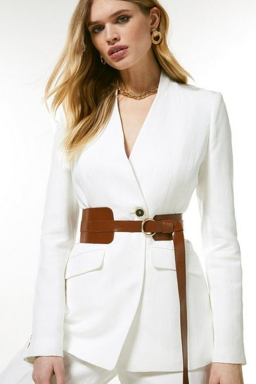 Ivory Linen Blend Clean Belted Jacket