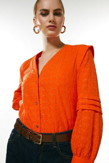 Red Sharp Shoulder Broderie Blouse