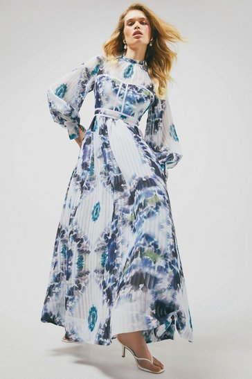 White Tie Dye Balloon Sleeve Drama Maxi Dress