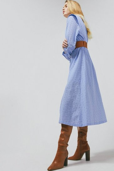 Pale blue Sharp Shoulder Broderie Belted Long Dress
