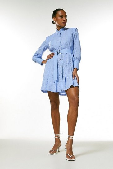 Pale blue Cotton Broderie Belted Button Dress