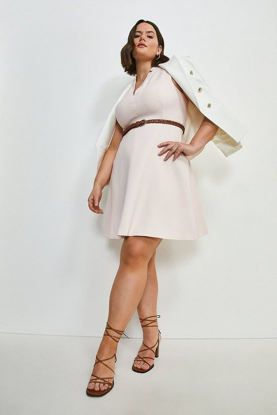 Blush Curve Relaxed Tailored Belted A Line Dress