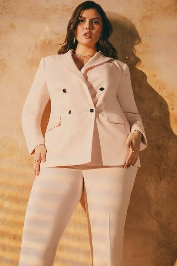 Blush Curve Relaxed Tailored Double Breasted Jacket
