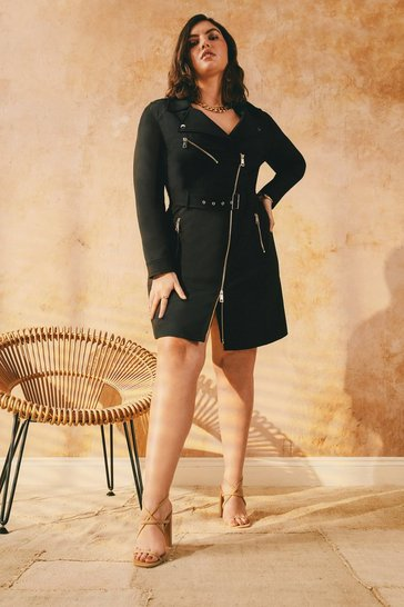 Black Curve Belted Biker Dress