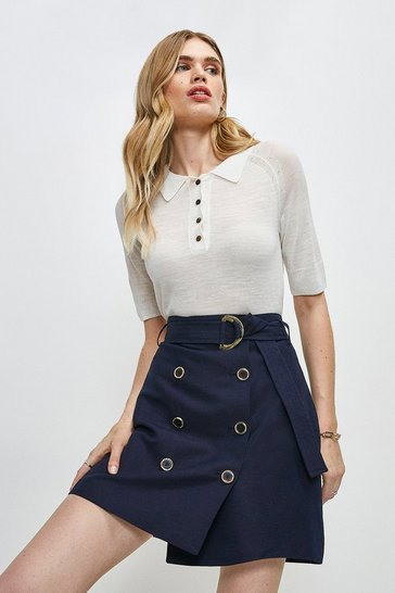 Navy Linen Blend Button Front Skirt