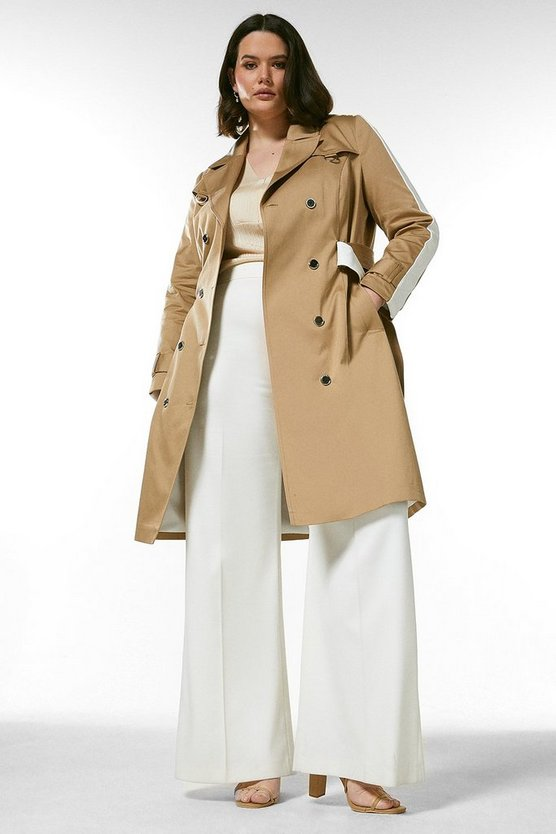 Natural Curve Polished Cotton Trench Coat