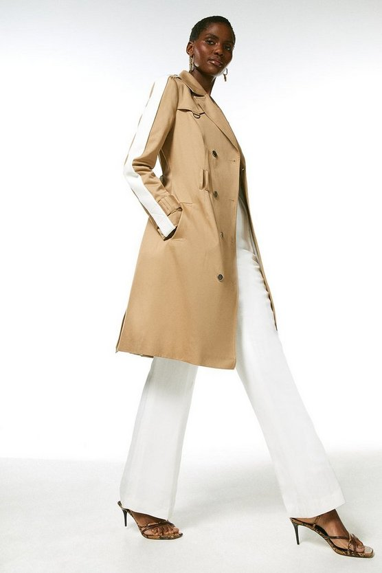 Natural Polished Cotton Trench Coat