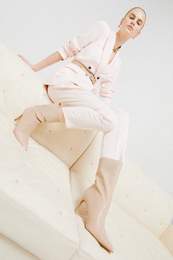 Blush Relaxed Tailored Belted Slim Leg Trouser