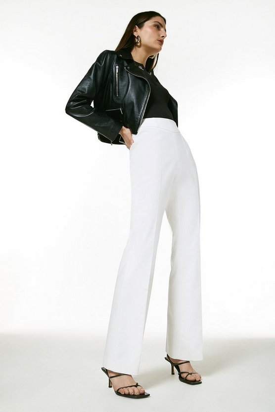 Ivory Polished Cotton Sateen High Waist Trouser
