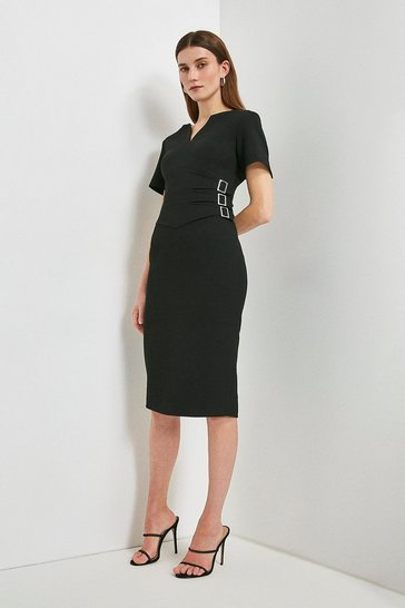 Black Compact Stretch Buckle Detail Pencil Dress