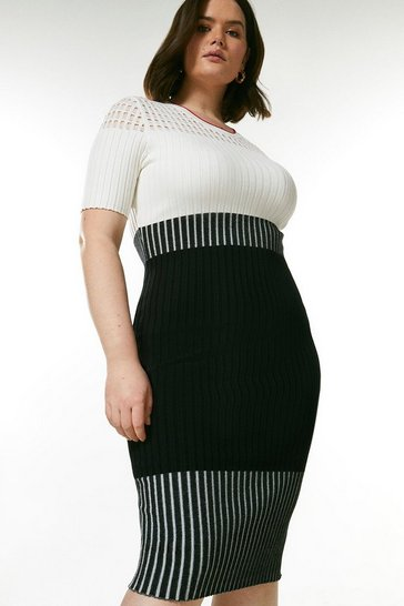 Blackwhite Curve Pointelle Colour Block Knit Dress
