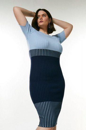 Blue Curve Pointelle Colour Block Knit Dress