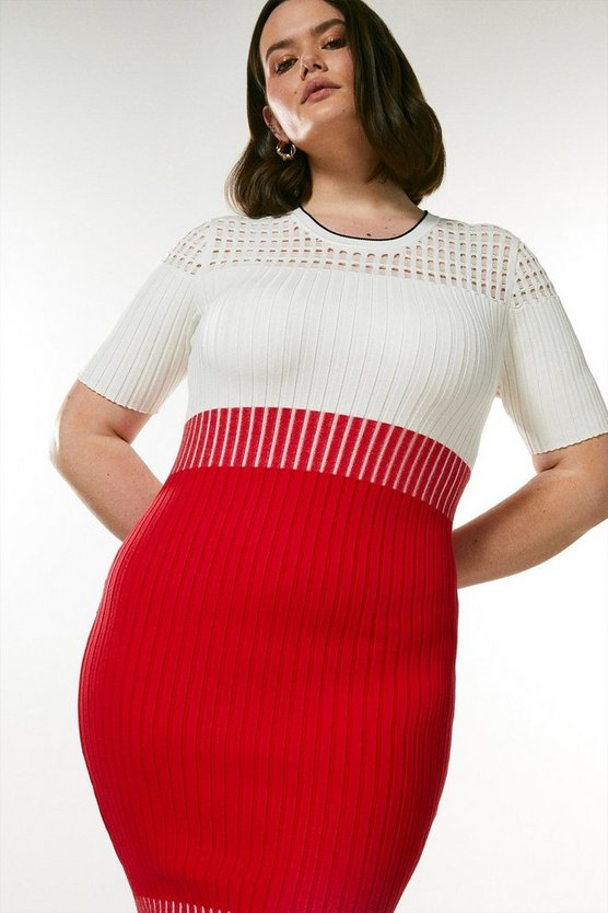 Red Curve Pointelle Colour Block Knit Dress