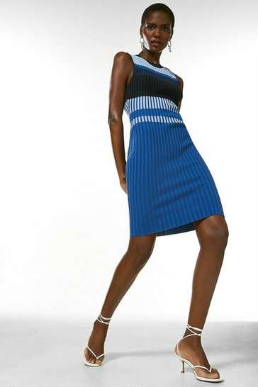 Blue Colour Block Rib Knit Pointelle  Dress