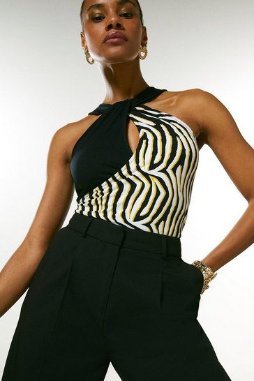 Black Zebra Colour Block Sleeveless Jersey Top