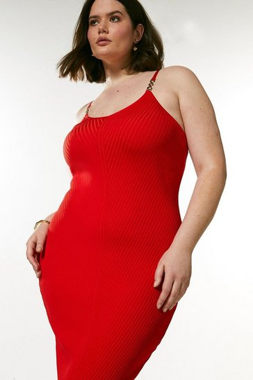 Red Curve Chain Trim Rib Knitted Dress