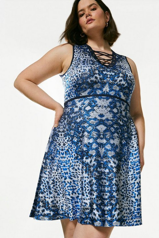 Blue Curve Jacquard Lacing Knitted Dress