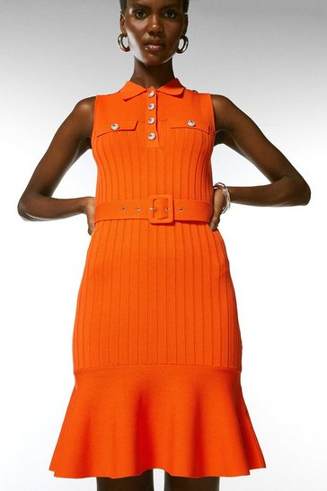 Orange Safari Belted Flippy Knitted Dress