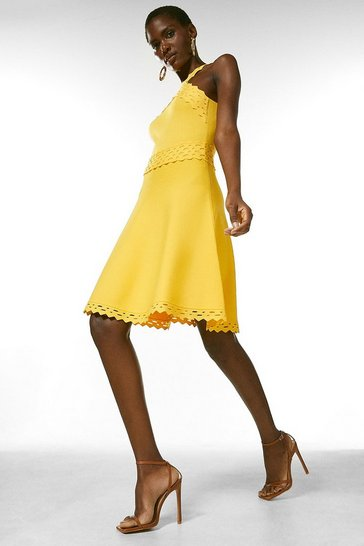 Yellow Scallop Pointelle Knitted Dress
