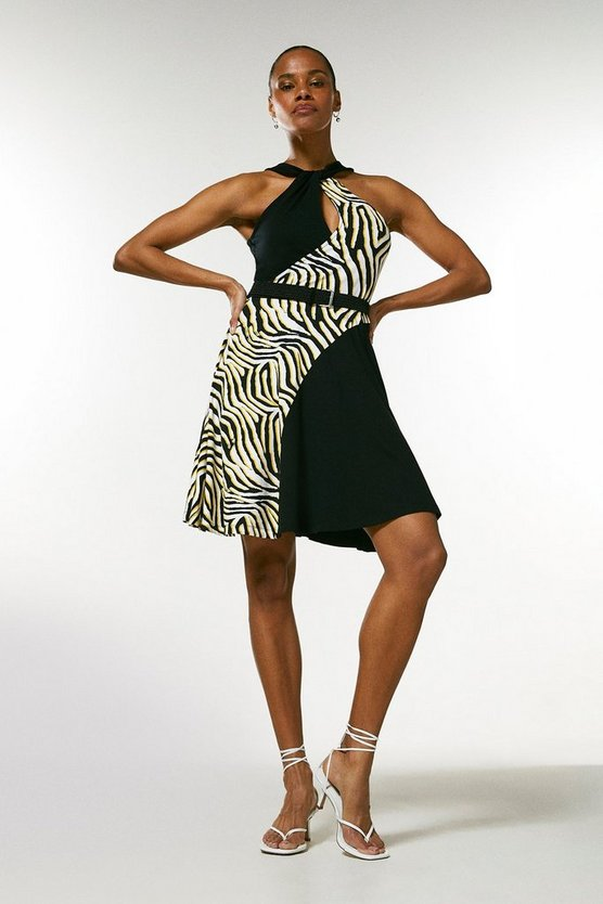 Black Zebra Colour Block Mini Belted Jersey Dress