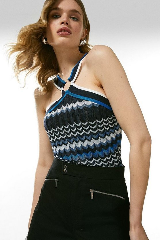 Blue Pattern Knitted Halter Neck Top
