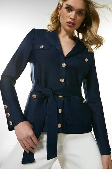 Navy Belted Military Detail Bandage Jacket