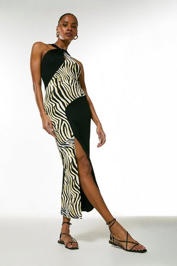 Black Zebra Colour Block Midi Belted Jersey Dress