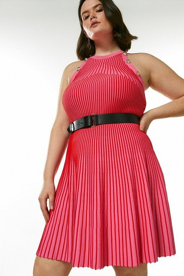 Hot pink Curve Ripple Stitch Belted Knit Dress