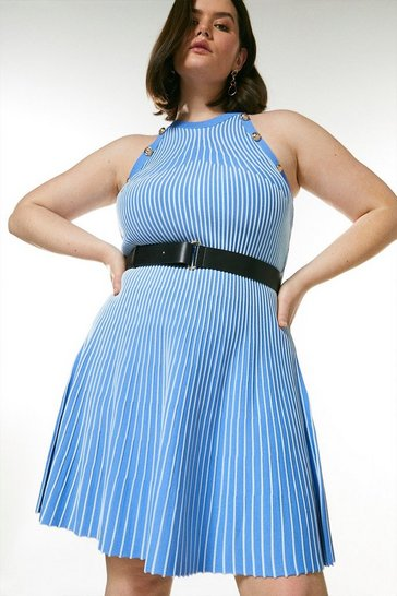 Pale blue Curve Ripple Stitch Belted Knit Dress