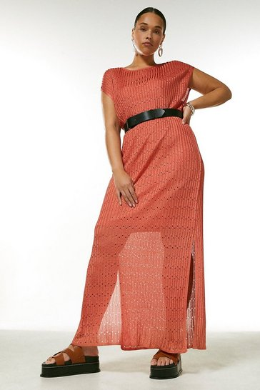 Rust Curve Sheer Knit Pointelle Maxi Dress