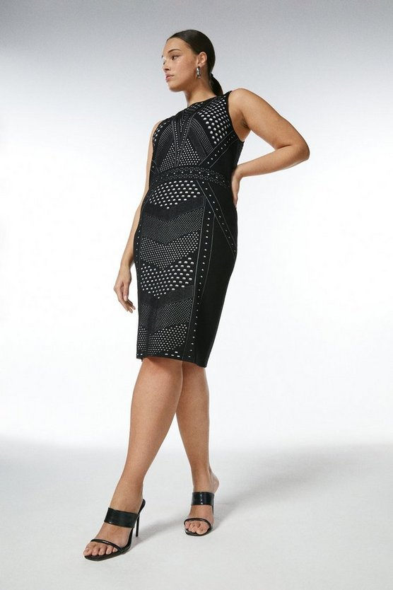 Black Curve Pointelle Lace Knit Fitted Dress