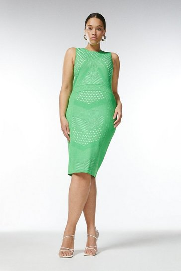 Green Curve Pointelle Lace Knit Fitted Dress