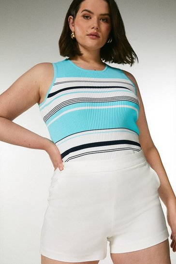 Blue Curve Stripe Knitted Ribbed Vest