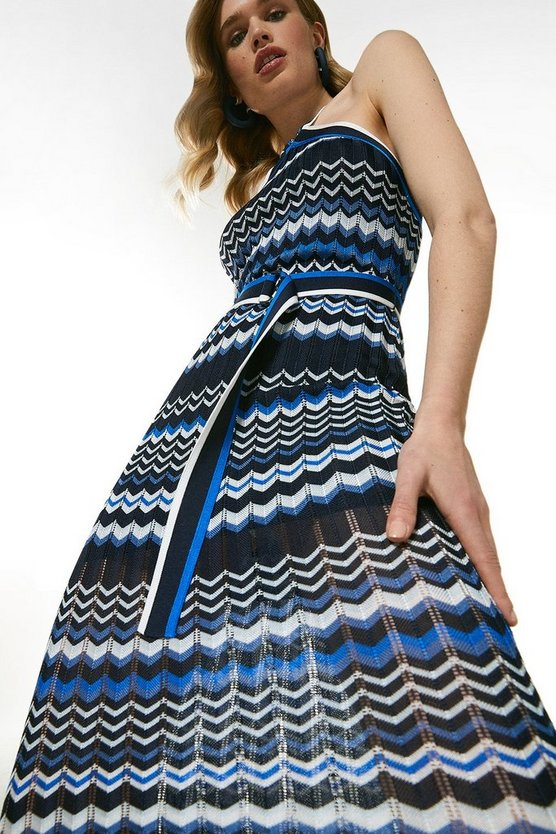 Blue Pattern Knit Belted Halter Neck Dress