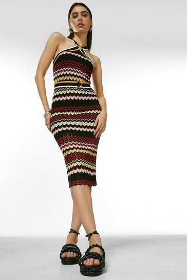 Multi Pattern Knit Belted Halter Neck Dress
