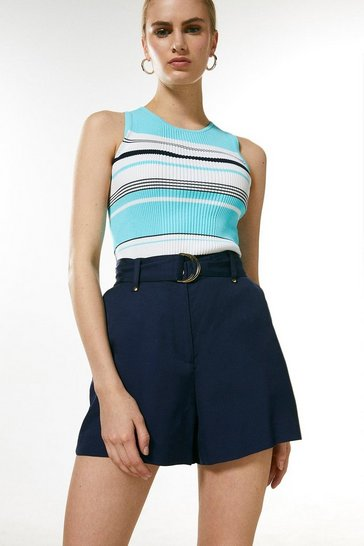 Blue Stripe Knitted Ribbed Vest