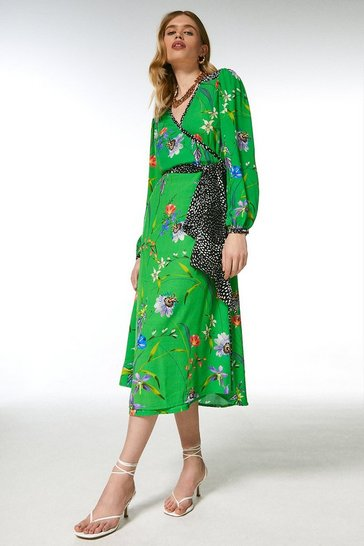 Green Floral Border Print Wrap Dress
