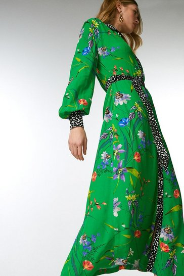 Green Floral Border Print Shirt Dress