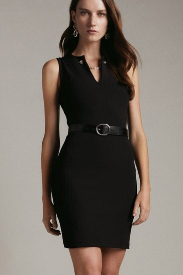 Black Eyelet Detail Jersey Rib Dress