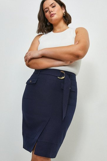 Navy Curve Linen Blend Stitch Detail Pencil Skirt