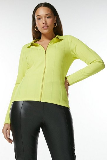 Lime Curve Zip Front Jersey Rib Shirt