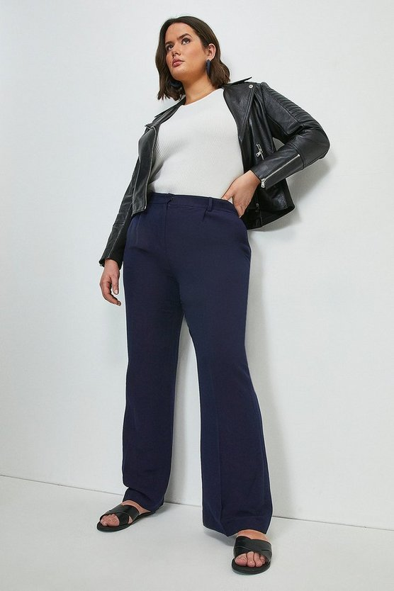 Navy  Curve Linen Blend Wide Leg Trousers