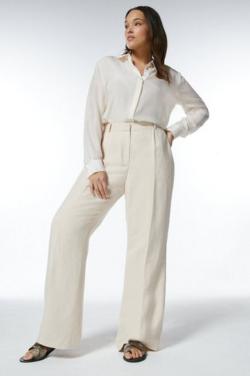 Stone  Curve Linen Blend Wide Leg Trousers