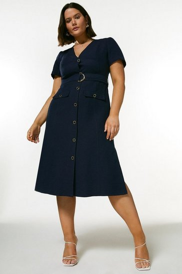Navy Curve Linen Blend Belted Midi Dress